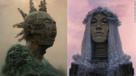Artist depicts Chinese rock stars as colossal mountain temples