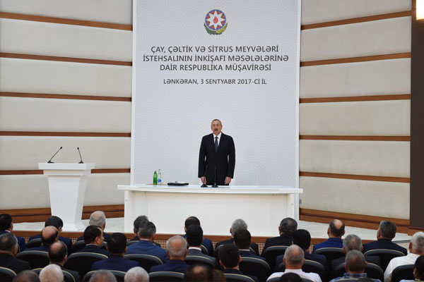 Ilham Aliyev chairs republican conference on development of tea, rice and citrus fruits production in Lankaran (PHOTO)