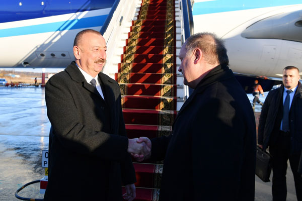President Ilham Aliyev arrives in Russia for working visit