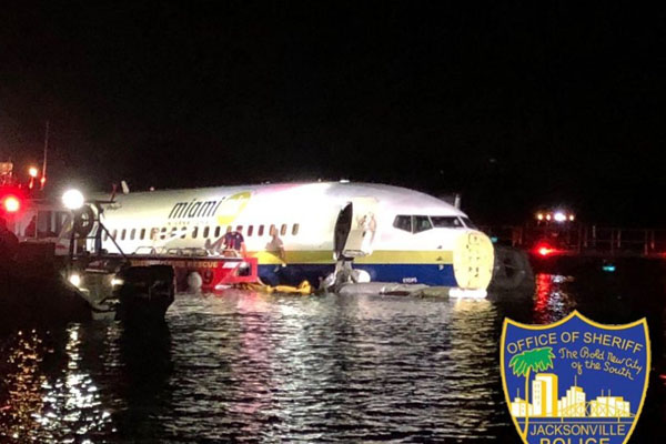 Plane crashes into Florida river at end of runway, no deaths