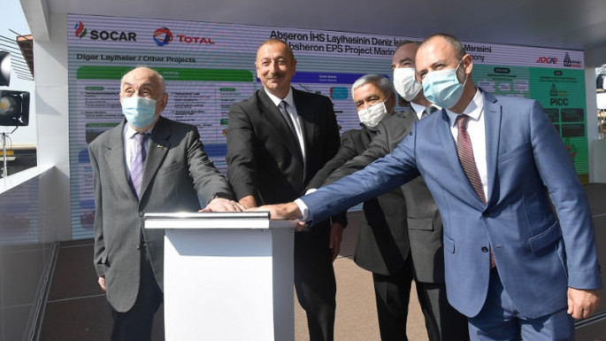 President Ilham Aliyev attends a groundbreaking ceremony for offshore operations at the Absheron field (PHOTO)