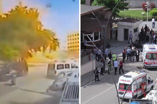 Two dead as 'ISIS' bomb blast hits police station terror target